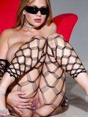 Pictures of busty hottie Alanah Rae dressed in hot sheer lingerie