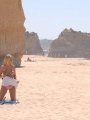 Pics of Alison Angel getting naughty on a beach