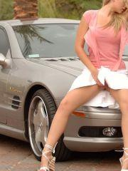 Pictures of Alison Angel showing you her pussy upskirt