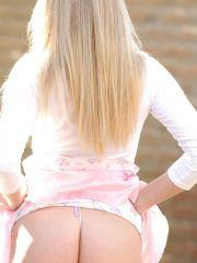Alison Angel outside showing pussy