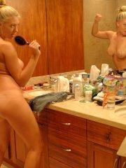 Pics of Alison Angel having fun with her naked body
