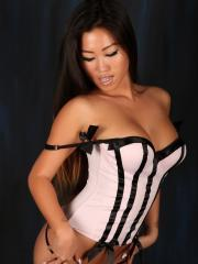 Asian babe Jada Cheng flaunts her beauty in a sexy corset