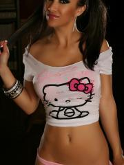 Sexy model Kira teases in her Hello Kitty top