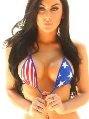 Happy July 4 from Danielle as she teases in her red white and blue string bikini