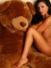 Beautiful babe Danielle gets naked with her giant teddy bear