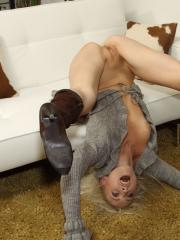 Blonde babe Layden Sin gets pleasured by Franziska Facella in the waiting room