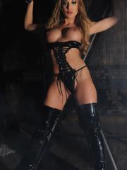 Pictures of Amy Brooke dressed in leather and waiting for you