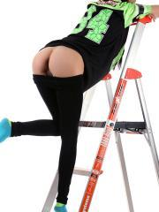Hot teen Andi Land strips for you on a ladder