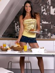 Brunette girl Zafira A in flashes her pussy in Breakfast Time