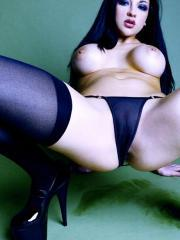 Pictures of Audrey Bitoni dressed in sexy black stockings