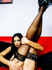 Pictures of Audrey Bitoni spreading in legs in black lingerie