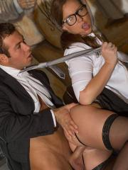 Hot secretary Maddy O'Reilly fucks her boss in the office