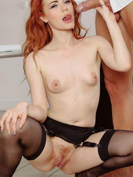 Redhead babe Ella Hughes gets fucked in her black stockings