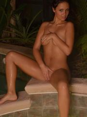 Hot coed Bailey Knox strips out of her bikini in the hot tub