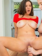 Busty babes Alex Chance and Shae Summers team up to give one lucky guy the fuck of his life