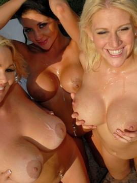 Four amazing busty girls get fucked hard in a hot tub