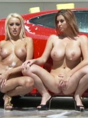Breanne Benson and her friends get naked while washing your car