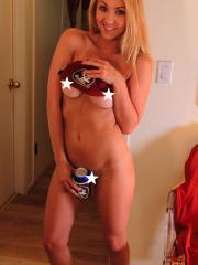 Blonde teen Brooke Marks teases with her florida state fanny pack
