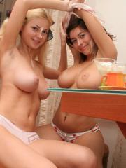 Pictures of Busty Alli and friend getting naughty with whipped cream