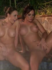 Busty babes Chanel Preston, Destiny Dixon and Kortney Kane get naughty in the hot tub