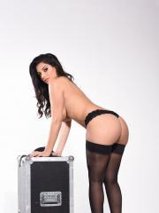 Charlotte Springer shows off her round boobs on a road case