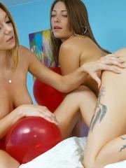 Alice March and her friends have a hot party with balloons in the dorm room
