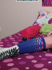 Roller girl Dexey Paige keeps her skates on as she gets in bed waiting for you to join her