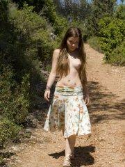 Pictures of teen Emily 18 showing her boobs outside