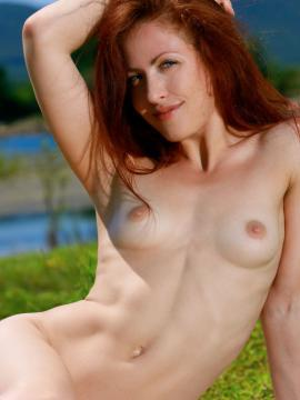 "Beautiful redhead Callista Simon posing nude outside in ""Sky Blue"""