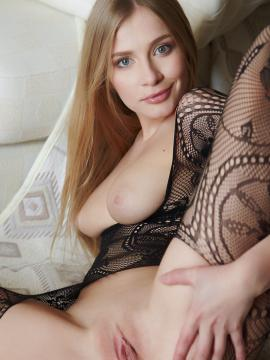 Blonde beauty Gyana A spreads for you in her lace lingerie