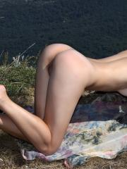 Pictures of brunette Vani L enjoying some outdoors nudity