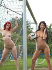 Pictures of Ariel and Melisa enjoying a sexy game of lesbian nude soccer