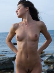 Pictures of hot girl Alannis celebrating her nudity outside