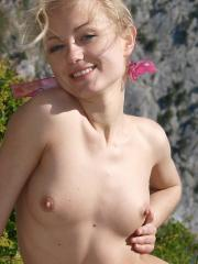 Pictures of blonde girl Hella being naked  outside
