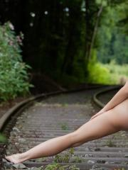 Femjoy's Carisha goes totally nude outside in Ride The Train