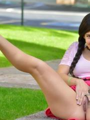 Beautiful teen Caroline masturbates in her braided pigtails