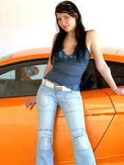 Hot latina teen with a car