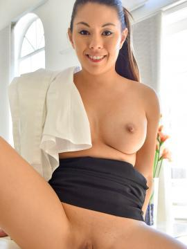 Asian hottie Nikko masturbates in her little black skirt