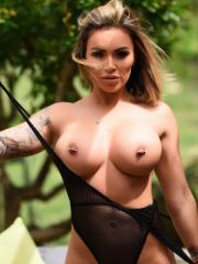 Gemma Massey strips out of her sheer lingerie outside