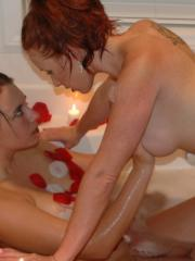 Busty lesbian coeds share share hot nude pics at home