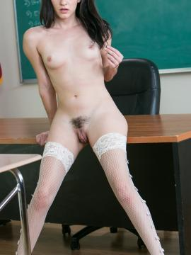 Brunette coed Alex More strips naked on her teacher's desk