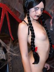 Slutty teen Shelby teases in her sexy halloween costume