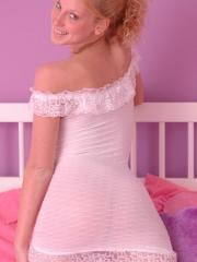 Hot teen Lucky strips and teases in her white lace lingerie
