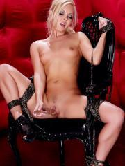 Gorgeous blonde bombshell Aaliyah gets kinky with the ropes and chains