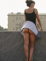 Jeny Smith shows you her pussy upskirt in public