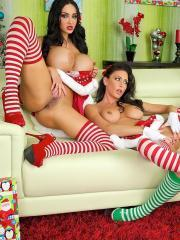 Sexy elves Jessica, Nikki and Amy have a Christmas present for you