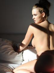 Jodie Gasson strips from her pink top to expose her amazing boobs