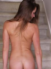Candice Ferguson spreads her shaved pussy on the stairs