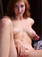 Perky redhead amateur Juliana Johnson toys her twat