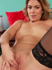 Ani Blackfox fingers her pussy wearing only stockings